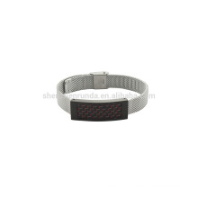 10mm stainless steel band unisex watched with red carbon fiber bracelet