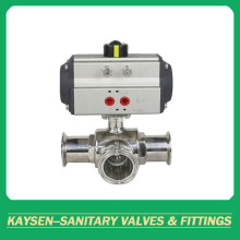 Food grade 3-way hygienic ball valves clamped pneumatic