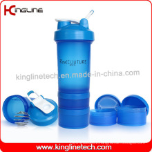 Plastic Blender Shaker Bottle with 2 Containers