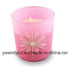 Duftende Soja-Geburtstagsgeschenk-Kerze im rosafarbenen Glas