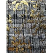 Jacquard duplo de rayon poli com folha de ouro