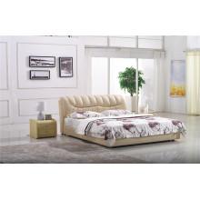 Cama moderna de cuero para muebles de dormitorio