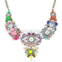 2014 Newest Resin Bib Necklaces Candy Color Crystal Pearl