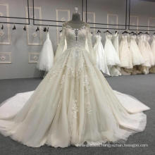 Elegant appliqued long sleeve lace wedding dress bridal gown 2017 DY034
