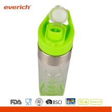 Botella de plástico de bebidas deportivas personalizada con tapa de paja