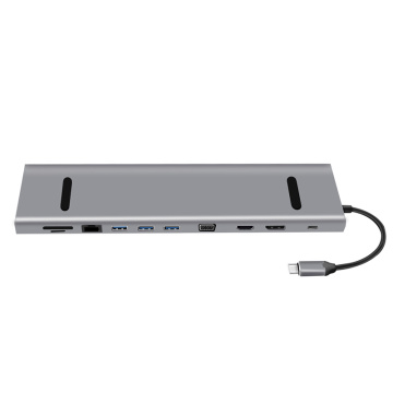 Type-C HUB TO HDMI(4K)+SD+TF+USB3.0*3+PD+VGA+LAN+DP+AUDIO