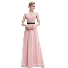Starzz Strapless Strapless Off Shoulder Pink Chiffon Long Bridesmaid Dress ST000066-4