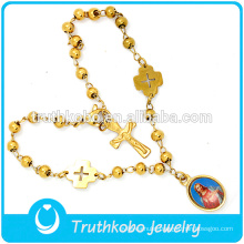 18K Gold Epoxy Jesus Our Lady of Gradalupe Rosary New Jewelry Design Stainless Steel Religious Holy Rosary Bracelet with Cross