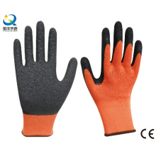 Cotton shell Latex palm coated crinkle finish work gloves
