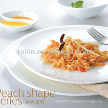 Peach shape series hotel white porcelain tableware, dinnerware set, porcelain dinnerware