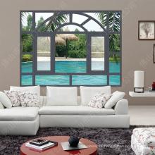 Aleación de aluminio Ventanas decorativas Parrilla / ventana abatible con persianas