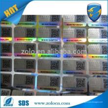 Etiqueta anti-falsificación / etiqueta de ropa holográfica / etiqueta de ropa holograma