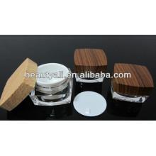 15ml 30ml50ml 100ml Wood Pattern Cosmetic Square Acrylic Cream Jars