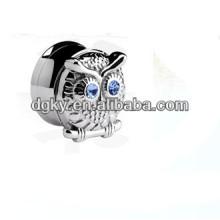 Crystal blue plug silver owl ear plug jewelled