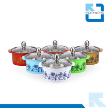 Colorful Stainless Steel Hot Pot & Stock Pot with Glass Lid