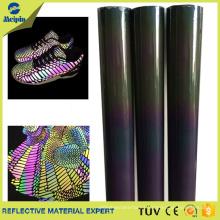 Material de tela de cuero reflectante de TPU para zapatos
