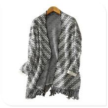 Frauen Kleidung Fabrik Dicke reine Cashmere Strickjacke Mantel mit unteren Tessel
