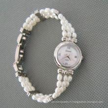 Blanc montre perle d'eau douce, perle montre occasion (WH105)