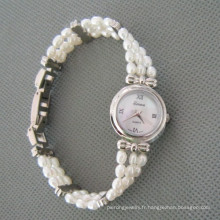 Montre à perles d'eau douce blanche, Montre à main perle (WH105)