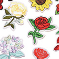 Applique Patch Ricamo Fiore Rosa Ferro Sul Fiore