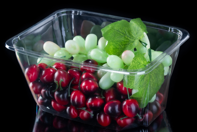 Transparent plastic salad tub for vegetables without cover