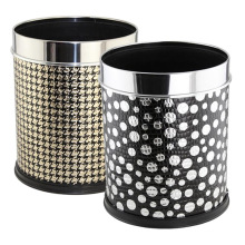 Stainless Steel Top Rim Fashion Leatherette Covered Dustbin