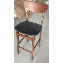 Moderne Café Möbel Schwarz PU Leder und Holz Beine High Bar Stühle zum Verkauf
