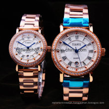 Rose Gold Plated Stainless Steel Couple Watches for Lovers
