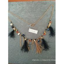 Мода Ткань Bling ожерелье с кисточкой