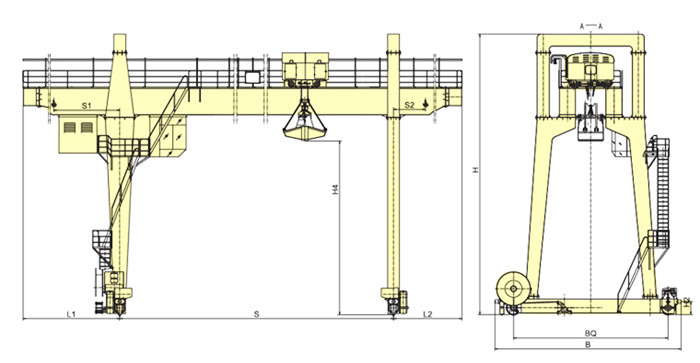 MG Double Girder Crane with grab bucket