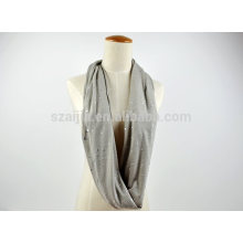 Fashion cotton jersey sequin infinity loop scarf