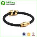 Tête de lion d'or en cuir véritable noir bracelet en acier inoxydable