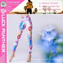 Leggings das mulheres do Spandex do poliéster da aptidão da alta qualidade do OEM da roupa do Gym