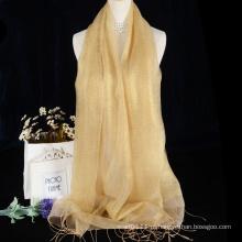Cachecol de seda brilhante cru cor sólida com design de borlas