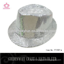 Wholesale Cheap White Sequin Fedora Hat
