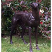 Estátua viva do cão do galgo do bronze do tamanho da vida para a decoração interna