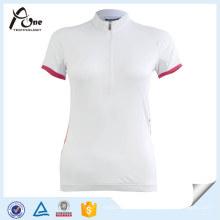 Vestuário de ciclismo branco personalizado vestuário de manga curta Jersey desgaste da bicicleta