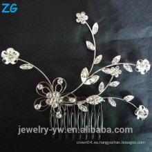 Hermosa flor nupcial peine completo cristal damas joyería peine peinado peine para niñas