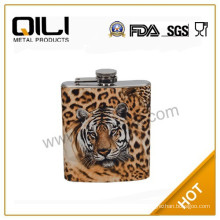 tiger pattern semi-water transfer printing stainless steel hip flask