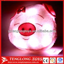 Cartoon pig head shape children lighted pillow animals