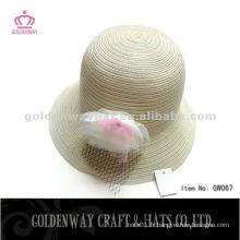 Ivory en gros chapeaux de paille avec fleur GW067