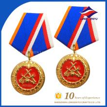 дешевые пользовательские эмаль честь медаль с лентой