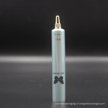 Tube cosmétique en plastique de compression de D22mm pour le gel de soin de peau avec le chapeau à visser d'or