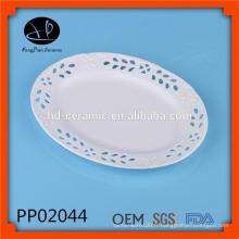 Assiettes en gros, assiette ovale pour hôtel, assiette en porcelaine de luxe