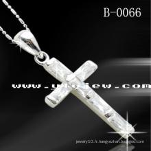 Pendentif Croix CZ en Argent 925 (B-0066)