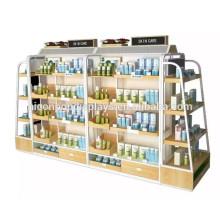Wooden Metal Display Regal Make-up Produkte Merchandising Store Einzelhandel Pop Kosmetik Boden Display