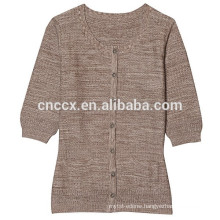 15JWS0518 woman spring summer short sleeves long style sweater with buttons