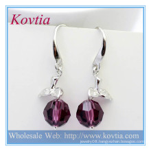 Alibaba china fashion jewelry amethyst crystal ball dangle earring