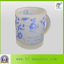 Coupe de verre de verre givré avec étiquette Vente chaude Kb-Hn0730