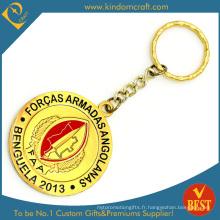 Logo personnalisé Étirement doux promotionnel Ajouter Epoxy Metal Gold Key Chain De Chine